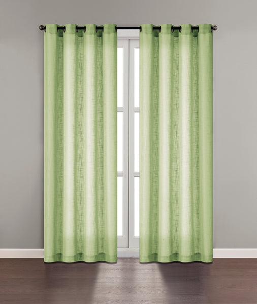 "Tranquility Semi-Sheer Solid Grommet Panel 84"" - Green C42313- Marburn Curtains"