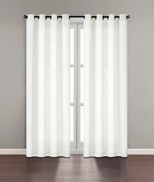 "Tranquility Semi-Sheer Solid Grommet Panel 84"" - White C42314- Marburn Curtains"