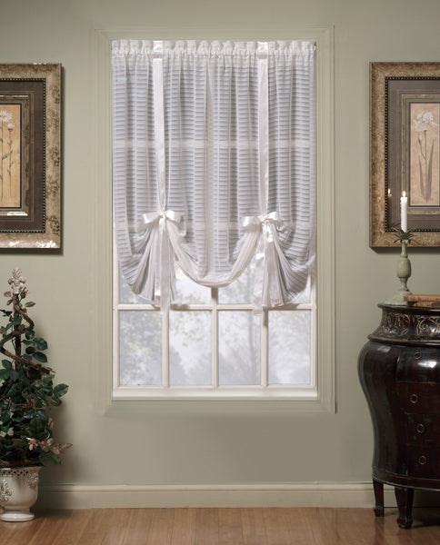 Silhouette Sheer Rod Pocket Collection - Tie Up Shade 058x063 Blue C32214- Marburn Curtains