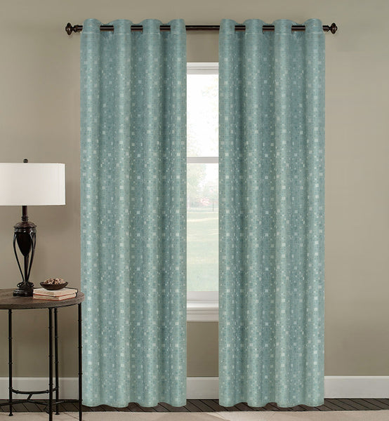 Tiles Thermulated Jacquard Grommet Blackout - 054x084 Aqua C43457- Marburn Curtains