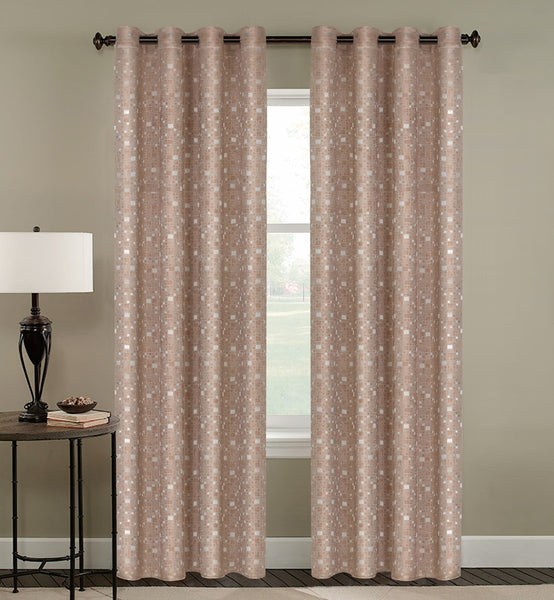 Tiles Thermulated Jacquard Grommet Blackout - 054x084 Chocolate C43456- Marburn Curtains