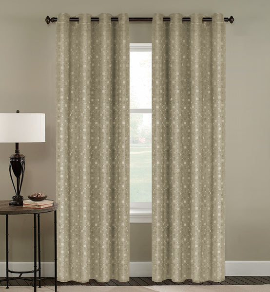 Tiles Thermulated Jacquard Grommet Blackout - 054x084 Gold C43455- Marburn Curtains