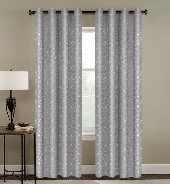 Tiles Thermulated Jacquard Grommet Blackout - 054x084 Silver C43458- Marburn Curtains