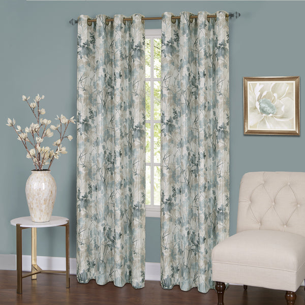 Tranquil Lined Room Darkening Grommet Panel - Panel   Mist 050x063 C37441- Marburn Curtains