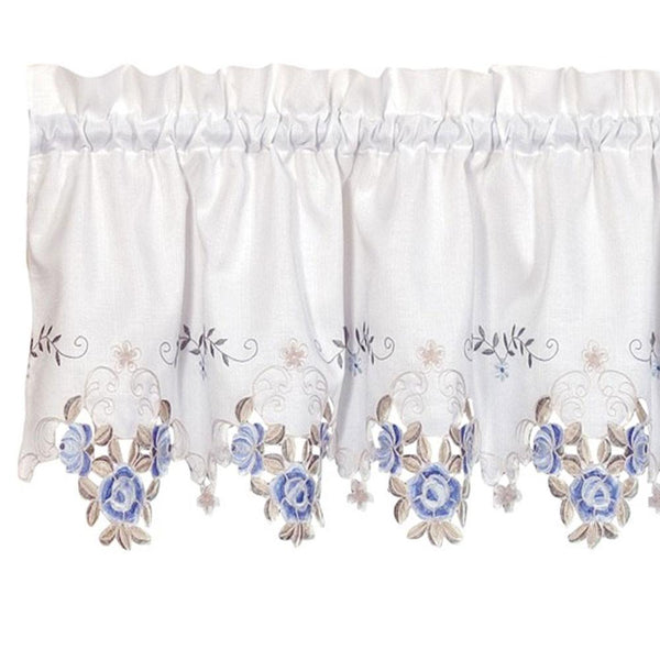 Verona Embroidery Rod Pocket Collection - Tie Up Shade 050x063 White/Blue C30879- Marburn Curtains