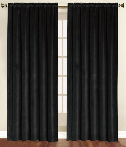 Vera Cruz Velvet Rod Pocket Panel - Panel   054x084 Black C41269- Marburn Curtains