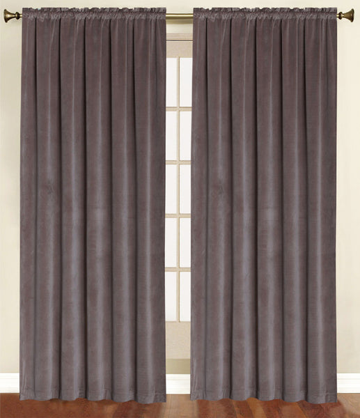 Vera Cruz Velvet Rod Pocket Panel - Panel   054x084 Chocolate C41270- Marburn Curtains