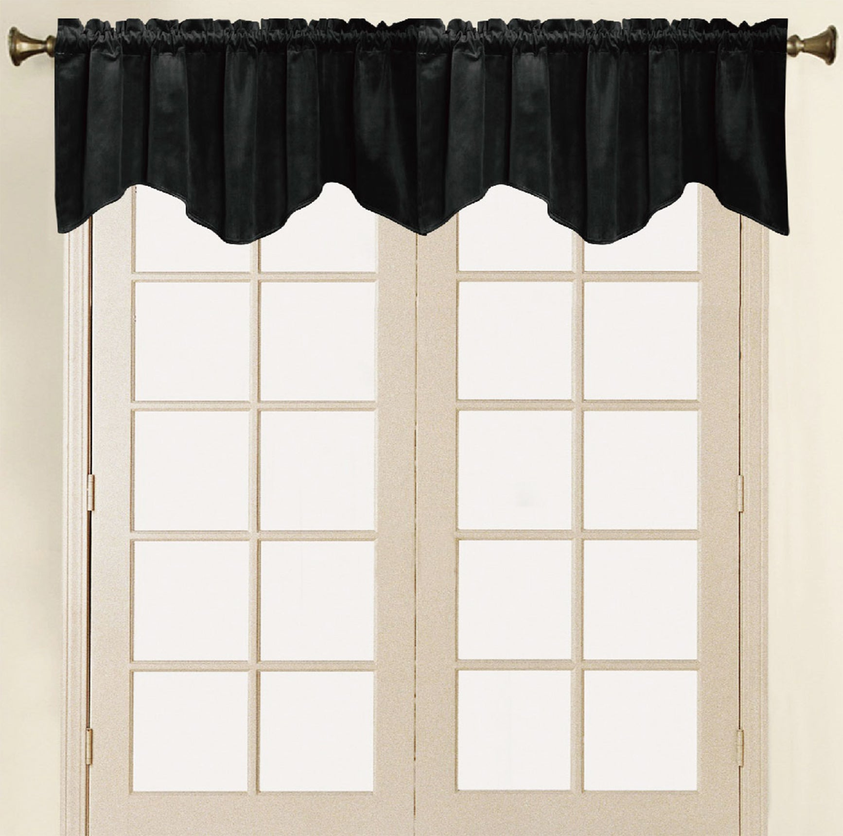 Vera Cruz Velvet Rod Pocket Valance - Valance 052x017 Black C41276- Marburn Curtains