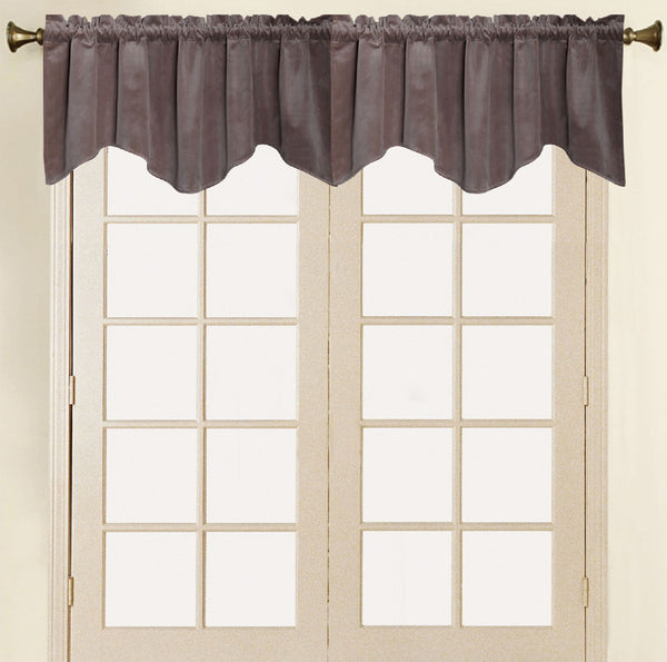 Vera Cruz Velvet Rod Pocket Valance - Valance 052x017 Chocolate C41277- Marburn Curtains