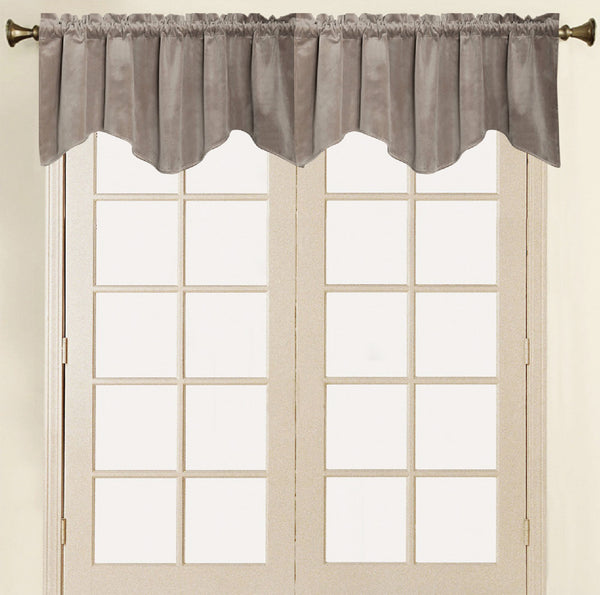 Vera Cruz Velvet Rod Pocket Valance - Valance 052x017 Taupe C41282- Marburn Curtains