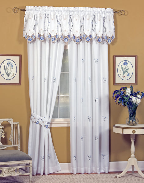 Verona Embroidery Rod Pocket Collection - Pair 080x063  White  Blue C30084- Marburn Curtains