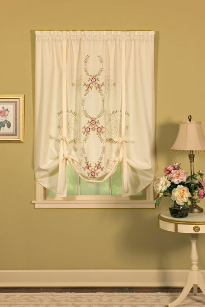 Verona Embroidery Rod Pocket Collection - Swag 060x038 Ecru Rose C30875- Marburn Curtains