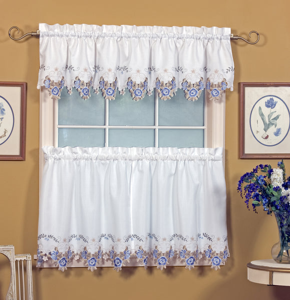 Verona Embroidery Rod Pocket Collection - Tier 060x024 White Blue C30278- Marburn Curtains