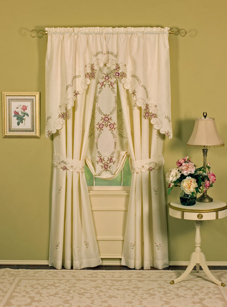 Verona Embroidery Rod Pocket Collection - Pair 080x063  Ecru  Rose C30083- Marburn Curtains