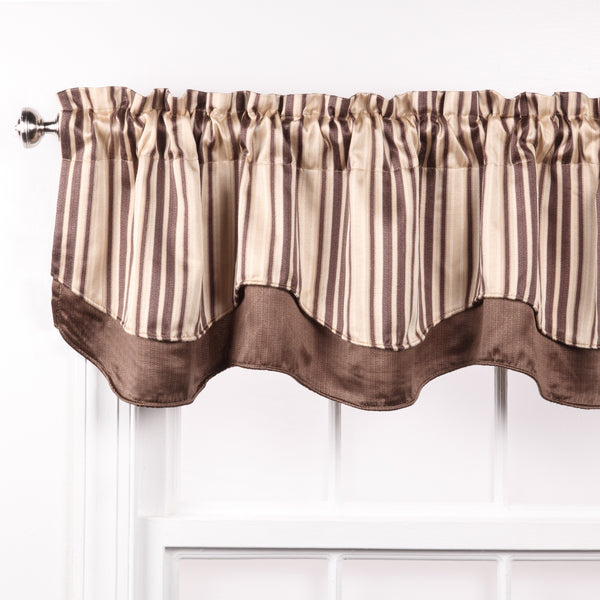 Windsor Rod Pocket Layered Valance - Valance  056x017 Brown C30639- Marburn Curtains