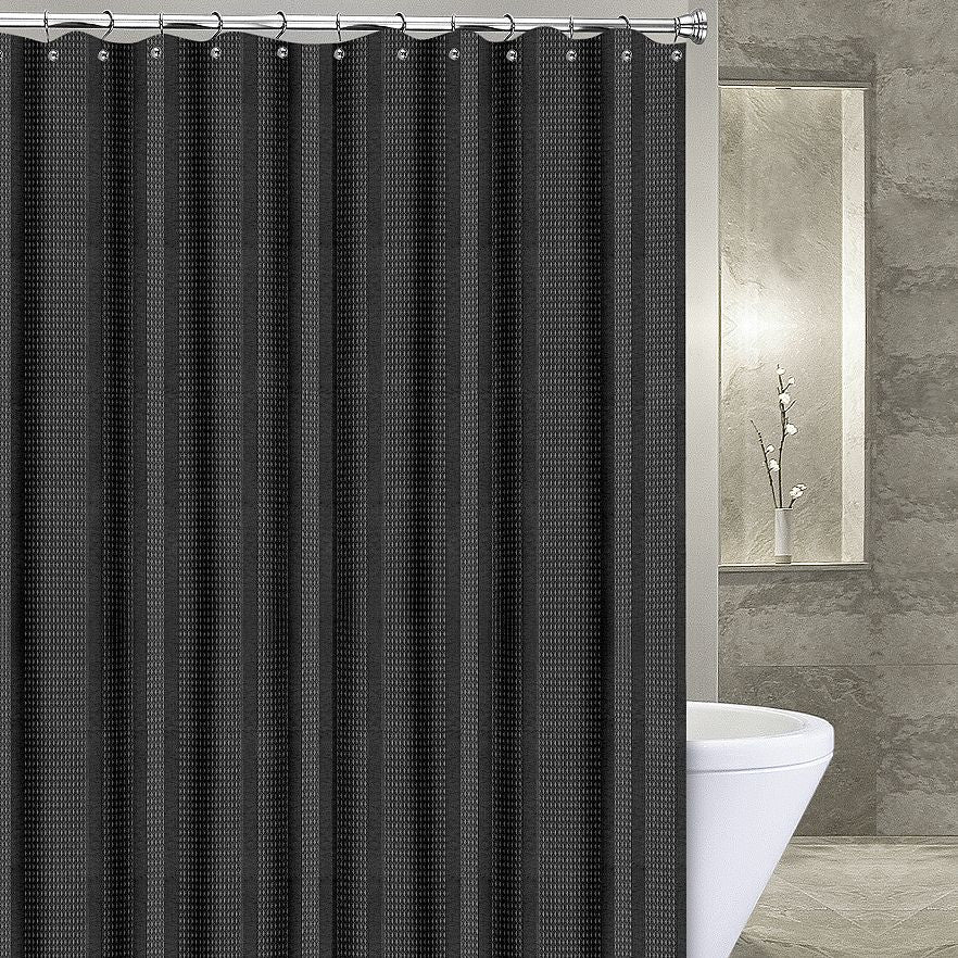 Amazing Waffle Stripe Stall Fabric Shower Curtain