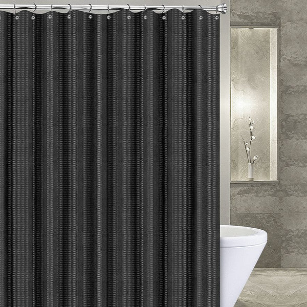 Waffle Stripe Extra Long Fabric Shower Curtain Marburn Curtains