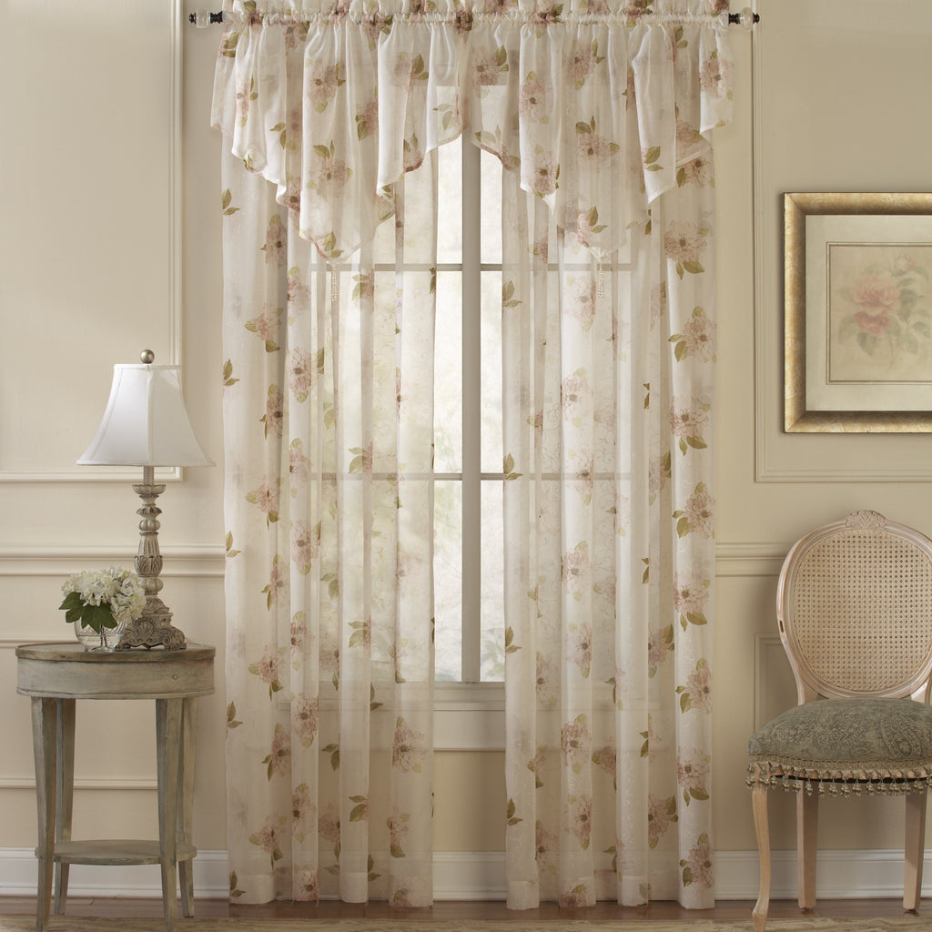 Water Lily Sheer Rod Pocket Panel / Ascot Valance w/Tassel