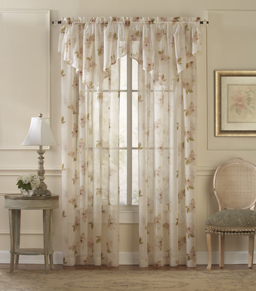Water Lily Sheer Rod Pocket Panel - Panel   050x063 Pink C26938- Marburn Curtains