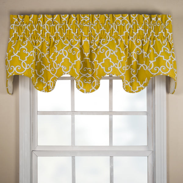 Woburn Rod Pocket Scalloped Valance - Valance 070x016Sunflower C36999- Marburn Curtains
