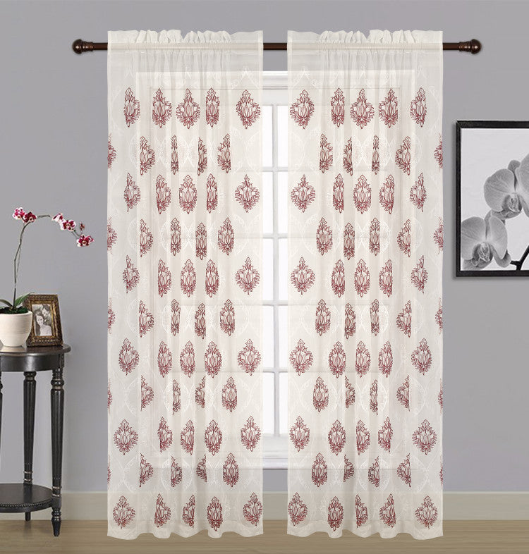 "Zoey Sheer Embroidered Rod Pocket Panel 84"" - 054x084   Burgundy  C42570- Marburn Curtains"