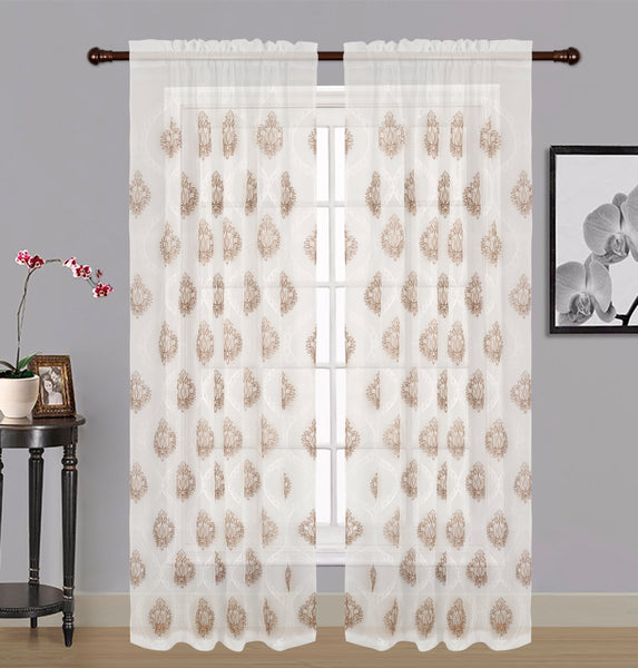 "Zoey Sheer Embroidered Rod Pocket Panel 84"" - 054x084   Taupe  C42571- Marburn Curtains"