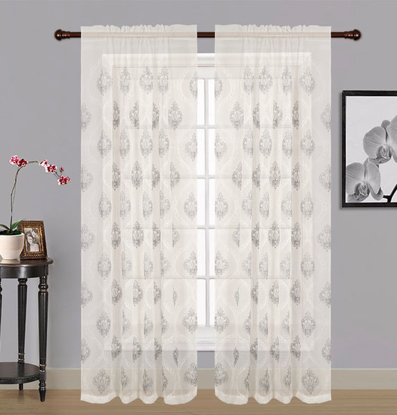 "Zoey Sheer Embroidered Rod Pocket Panel 84"" - 054x084   White  C42573- Marburn Curtains"