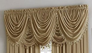 Hilton Rod Pocket Panel/Waterfall Valance - Waterfall Valance Antique 055x037 c27958- Marburn Curtains