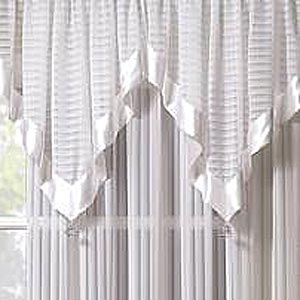 Silhouette Sheer Rod Pocket Ascot Valance - Ascot Valance 040x025 White C32068- Marburn Curtains