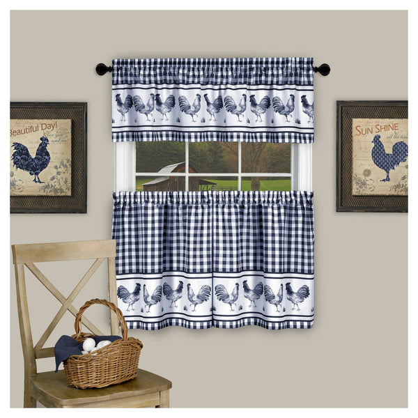 Barnyard Rod Pocket Tier&Valance Set - Tier/Valance Set/Navy/058x024 C40732- Marburn Curtains