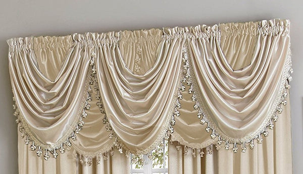 Hilton Rod Pocket Panel/Waterfall Valance - Waterfall Valance Beige 055x037 C27957- Marburn Curtains