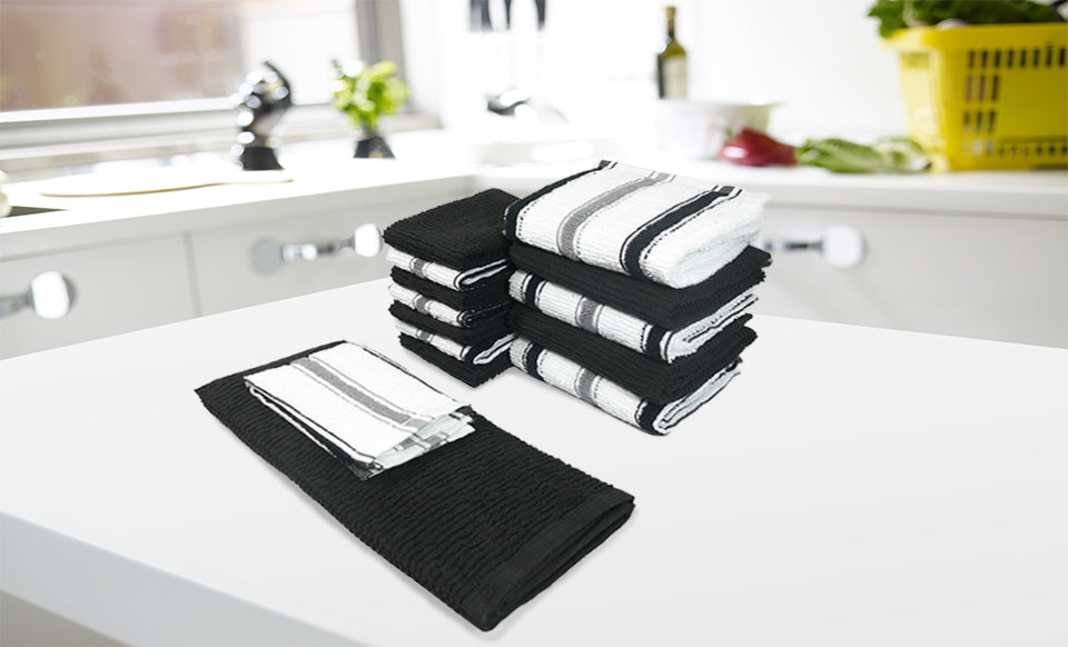 Chef Stripe 14pc Kitchen Towel and Dish Cloth Set