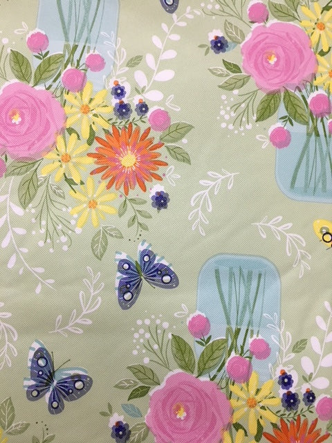 Blooms of Sunshine Vinyl Flannel Back Tablecloth