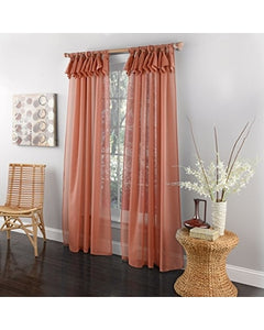 Breeze Sheer Tab Top Panel - 54x63   Coral C42530- Marburn Curtains