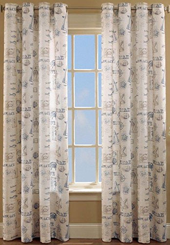 By The Sea-Grommet Panel - Panel  060x063 Blue C34815- Marburn Curtains