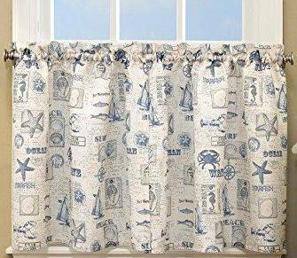 By The Sea Rod Pocket Tier - Tier  060x024 Blue C34817- Marburn Curtains