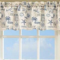 By The Sea Rod Pocket Valance - Valance  060x012 Blue C34819- Marburn Curtains