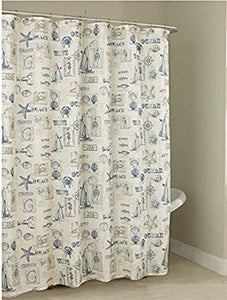 By The Sea Fabric Shower Curtain - 070x072 Blue C34512- Marburn Curtains