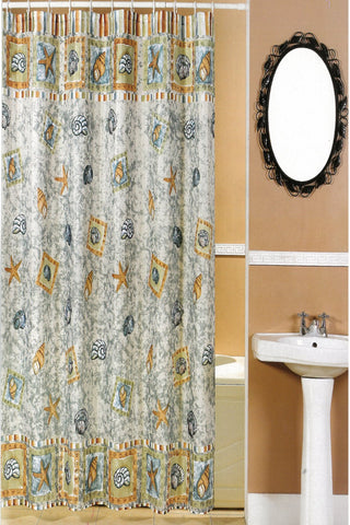 Brighton Beach Blue Print Fabric Shower Curtain - - Marburn Curtains