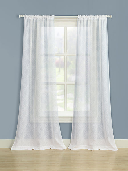 Chancery Rod Pocket Panel - 050x063  White C37250- Marburn Curtains