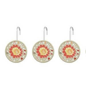 Coral Paisley Shower Hooks