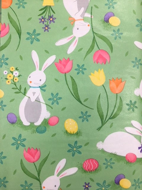 Cotton Tail Party Vinyl Flannel Back Tablecloth