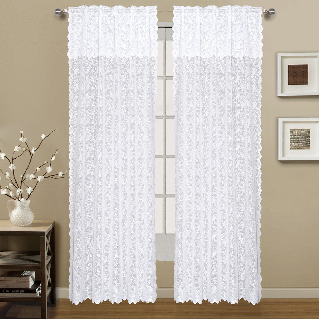 Dainty Lace Rod Pocket Panel with attached Scalloped Valance