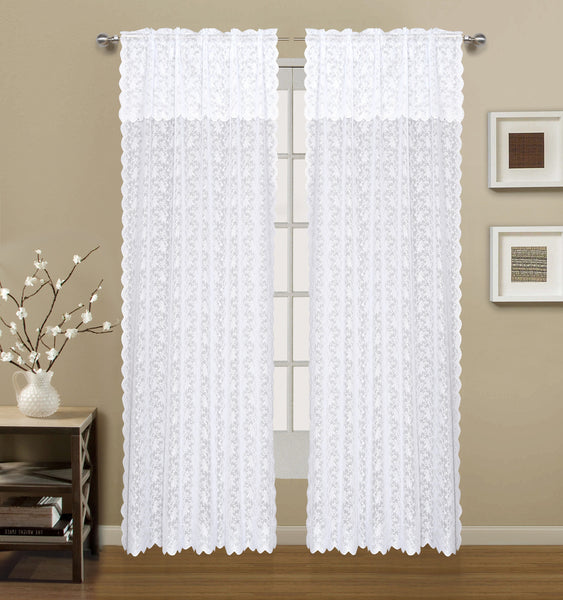 Dainty Lace Rod Pocket Panel with attached Scalloped Valance - 060x063+16 White C43447- Marburn Curtains