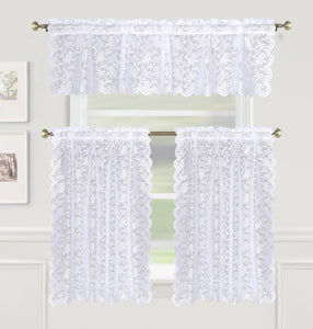 Dainty Lace Rod Pocket Tier - 060x024 White C43451- Marburn Curtains