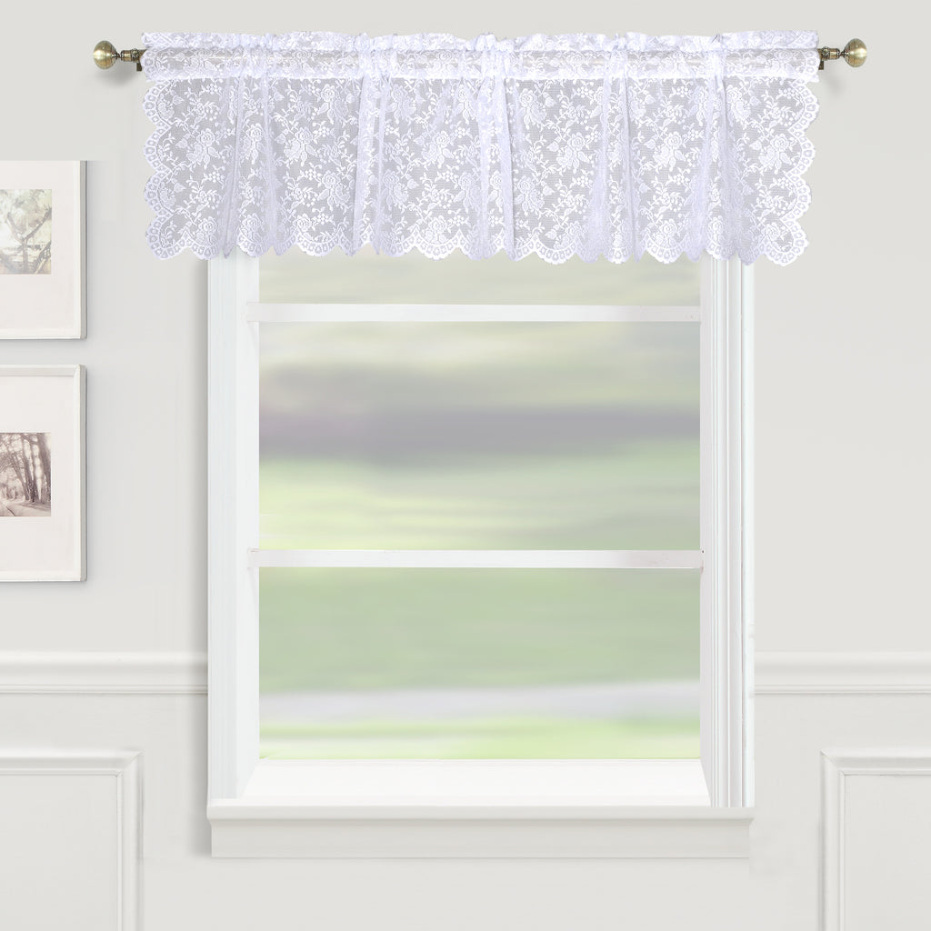 Dainty Lace Rod Pocket Valance