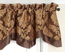 Darby Rod Pocket Layered Scalloped Valance - Valance  050x017 Cafe C24332- Marburn Curtains