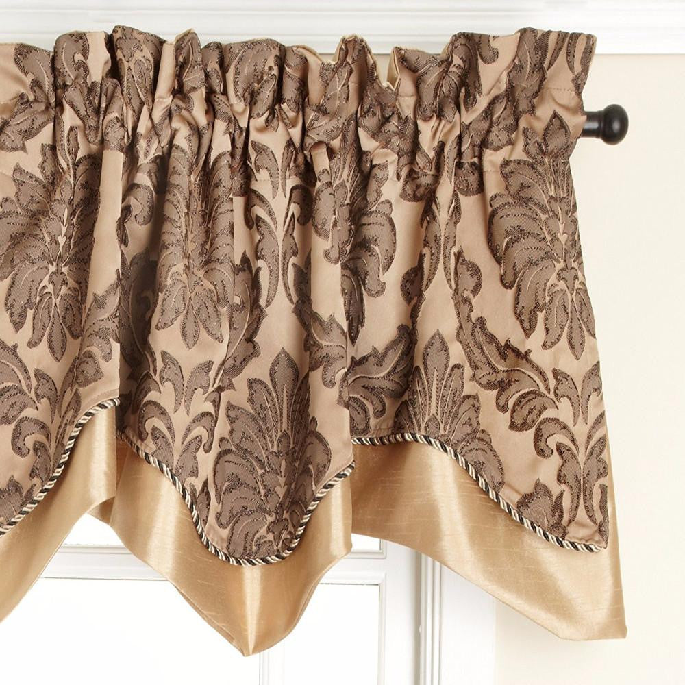 Darby Rod Pocket Layered Scalloped Valance - Valance  050x017 Gold C24334- Marburn Curtains