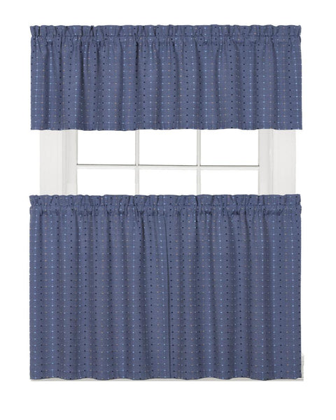 Hopscotch Woven Check Rod Pocket Tier / Valance - Valance 058x013 Denim C41111- Marburn Curtains