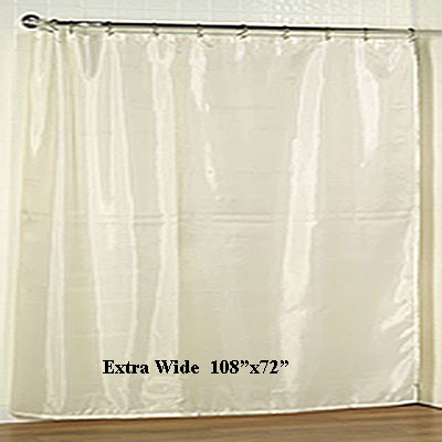 "Extra Wide Fabric Shower Curtain Liner 108""x72"""